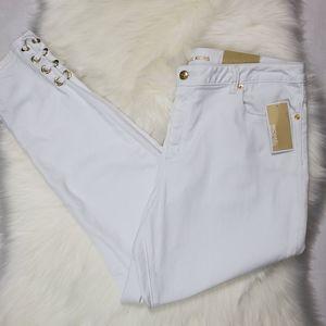 Michael Kors Izzy Skinnny Mid Rise White Jeans